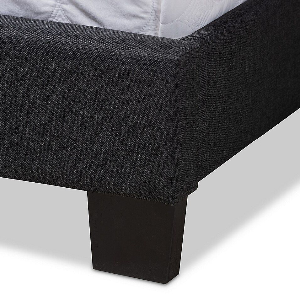 Baxton Studio Finley Fabric Upholstered King Bed In Dark Grey Charcoal - Update your bedroom with the Baxton Studio Finley Fabric Upholstered Bed. Grid-patterned stitching adds a contemporary, tailored look with neutral fabric that coordinates beautifully with practically any décor. Foam padding adds comfort and luxury.