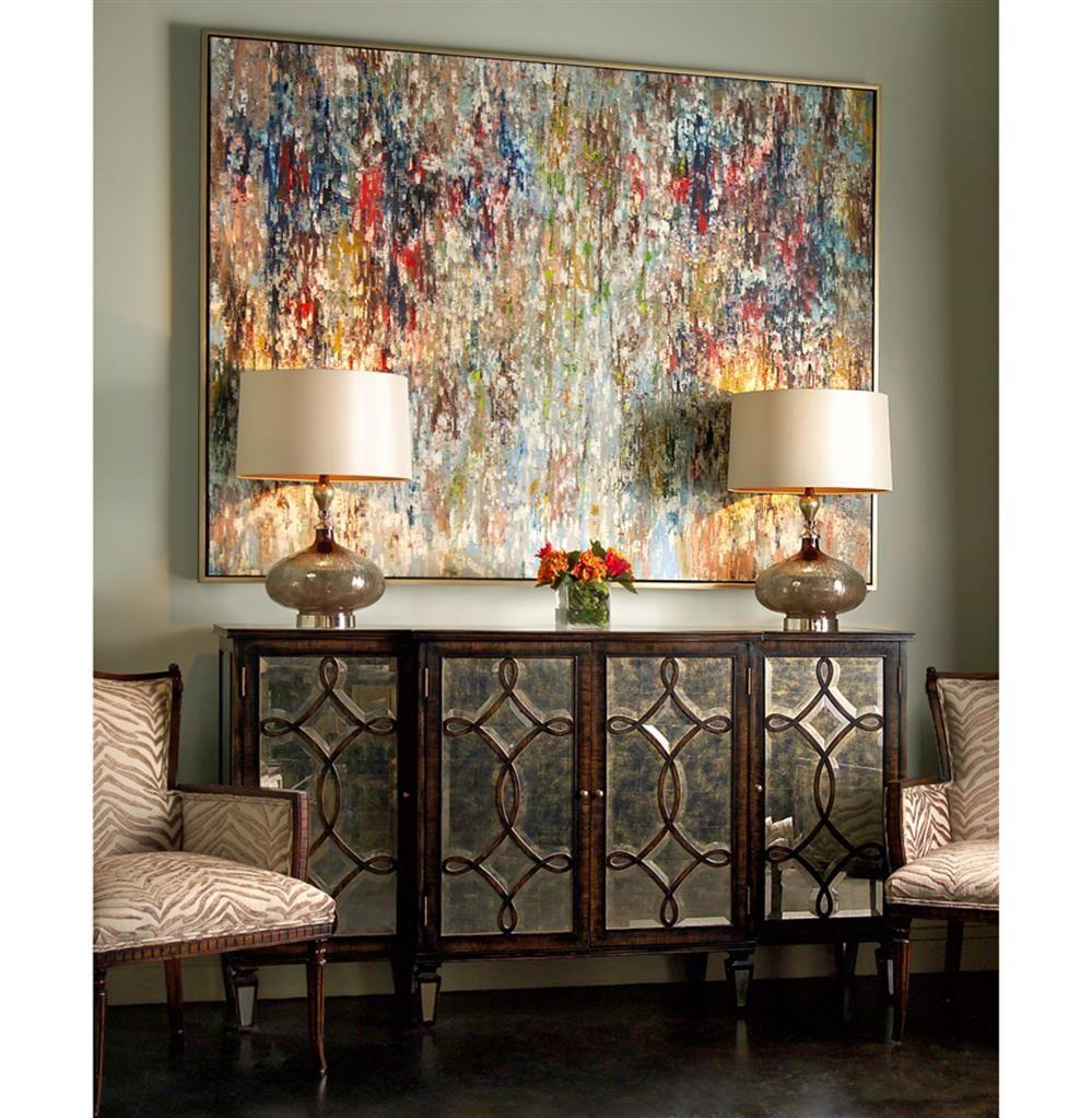 hollywood regency mirrored furniture. Bayard Hollywood Regency Espresso Silver Leaf Mirrored Lattice Sideboard   Kathy Kuo Home Furniture