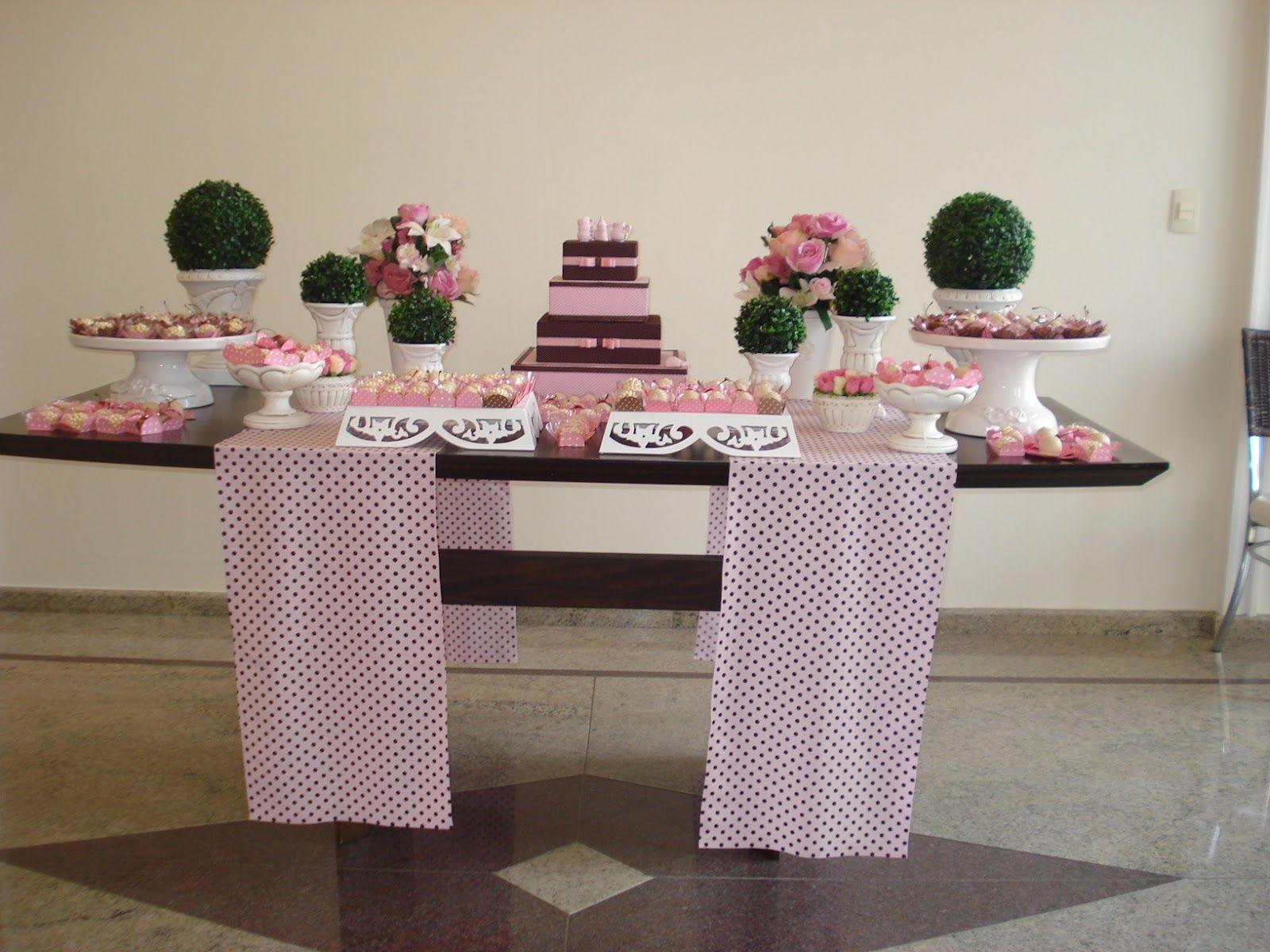 mesa doces rosa e marrom   Google Search   Decoração chá de ...