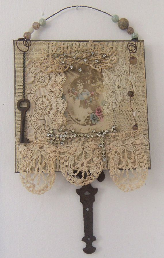Assemblage Art Lace Collage Altered Fabric Wall Hanging 1119 Etsy Fabric Wall Hanging Lace Crafts Fabric Crafts