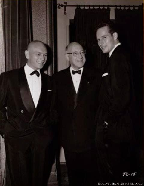 Yul Brynner, Cecil B. DeMille, and Charlton Heston