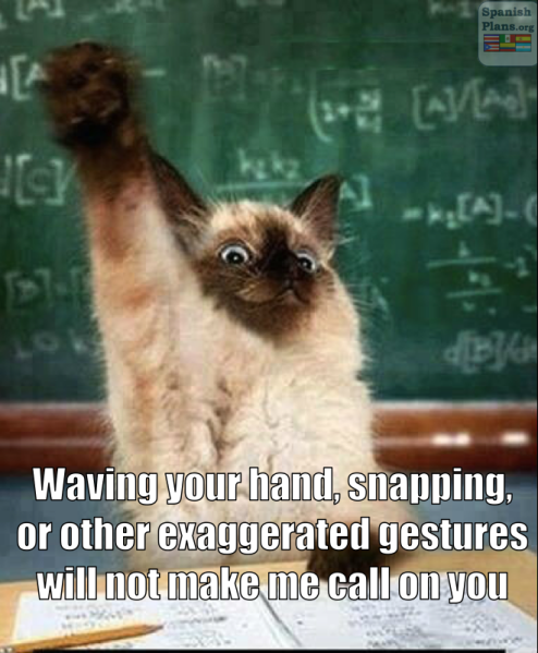 Waving your hand, snapping, or other exaggerated gestures WILL NOT make me call on you!