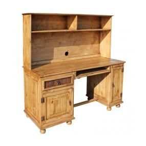 Crafted With An Eye Toward Technology This Large Mexican Rustic Pine Desk Houses All Your Computer Gear Its Top Is Enough To Hold A Monitor And