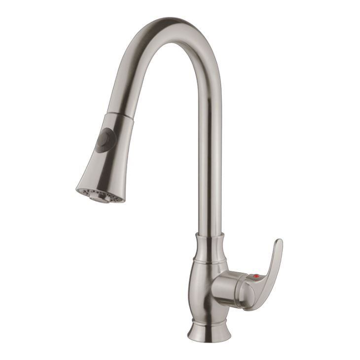 Contemporary Brushed Nickel Kitchen Sink Faucet Swivel Spout Mixer Tap