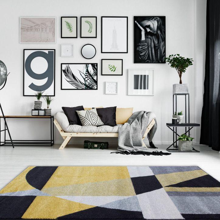Yellow Ochre Black Grey Modern Abstract Geometric Living Room Bedroom Rug Geometric Rugs Living Room Grey Geometric Rug Rugs In Living Room #yellow #grey #and #black #living #room