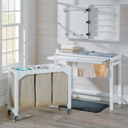 Laundry Folding Table With 3 Clothes Hampers Laundry Folding