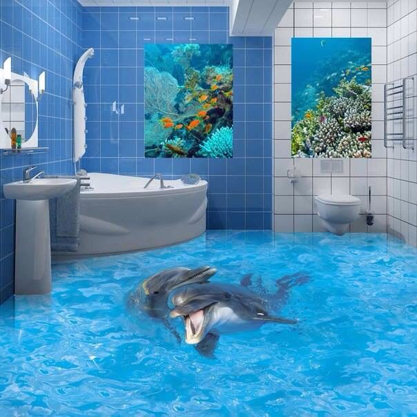 3 D Dolphin Bathroom Floor Floor Murals 3d Floor Art Floor