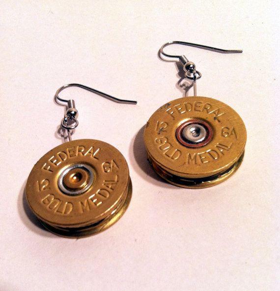 Federal 12 Gauge Shotgun Shell Earrings Ammo by StoneAndWoodGuy                                                                                                                                                     More