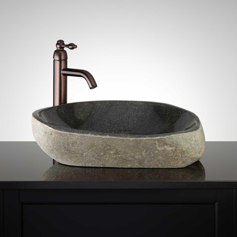 Hockanum Gray River Stone Vessel Sink - Bathroom