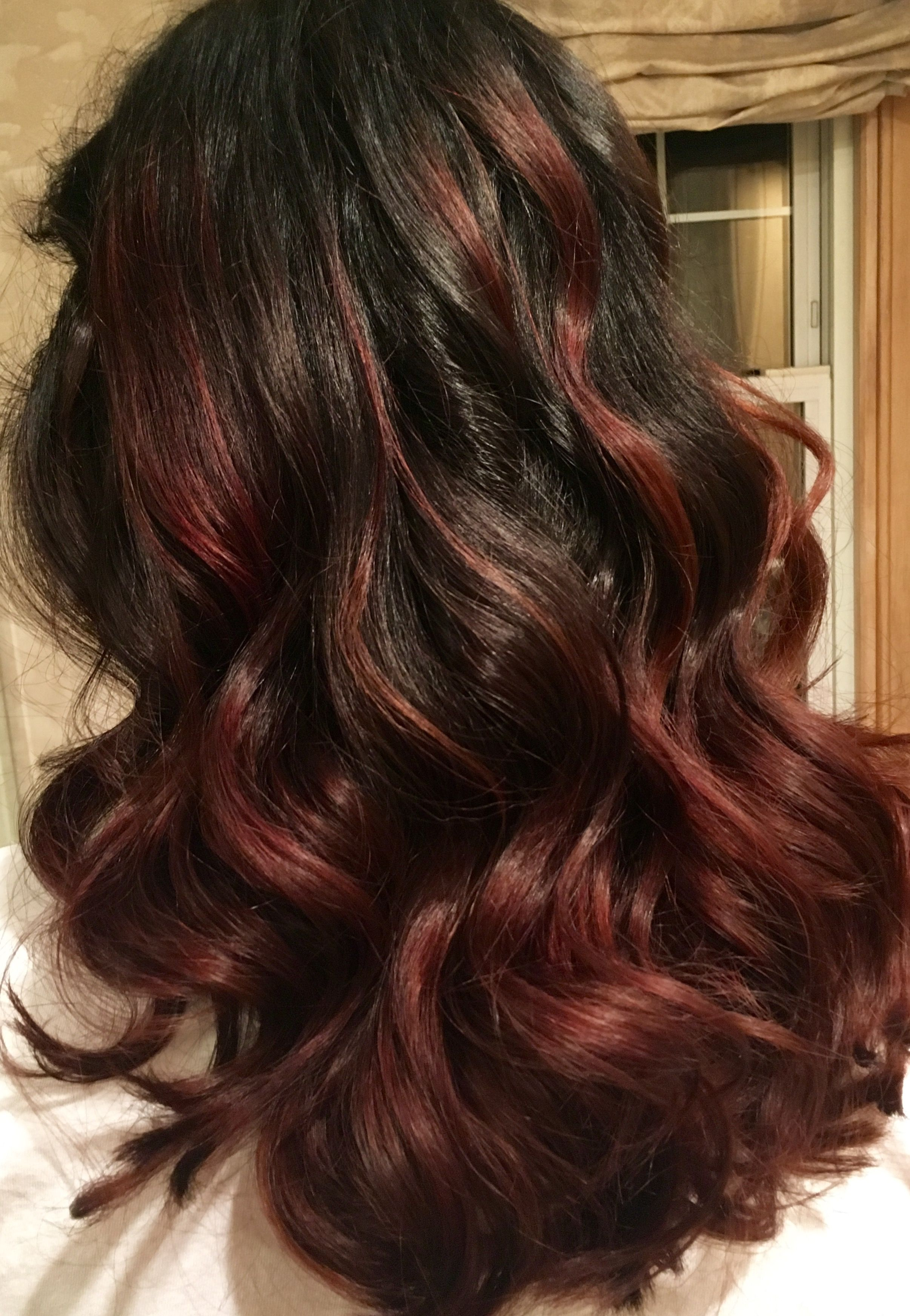 Dark brown burgundy maroon bayalage hair balyage pinterest