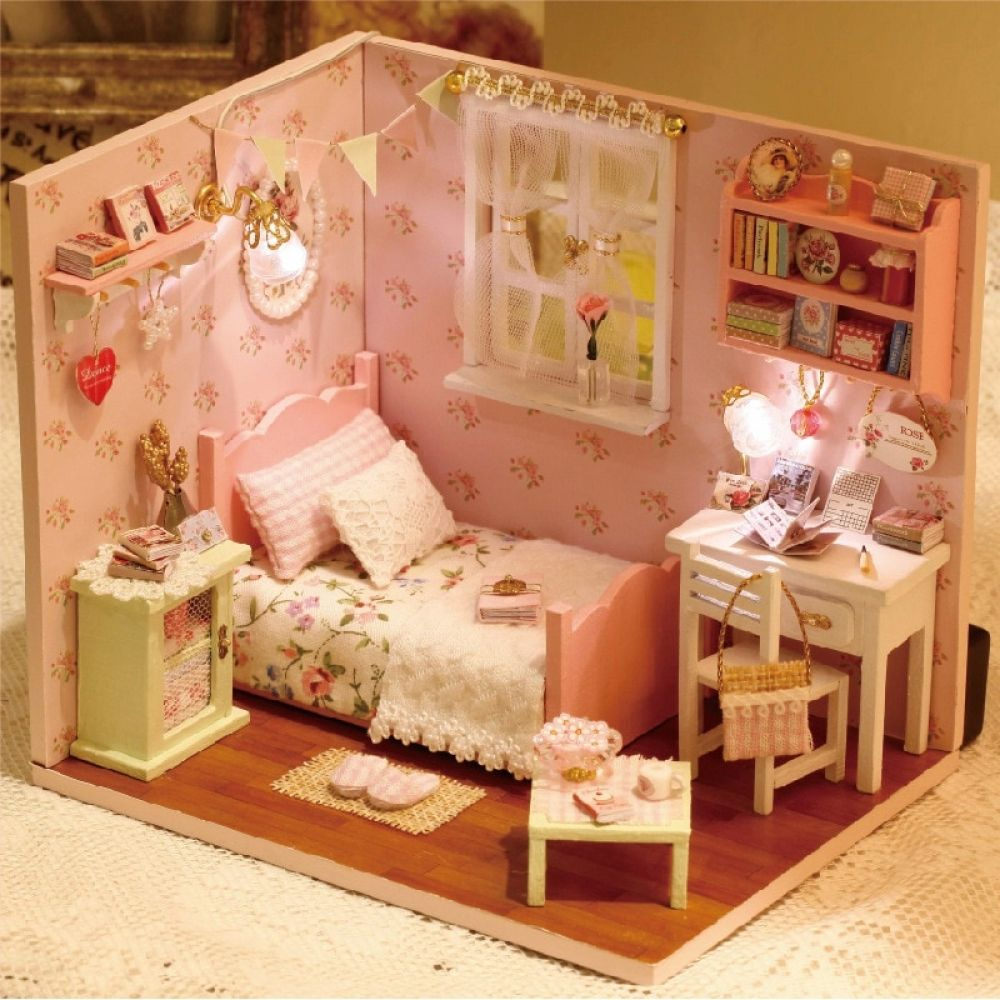 Happy Little World 2 Set DIY Dollhouse Miniature En Bois avec LED Happy