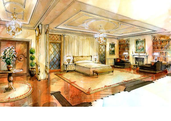 Architectural Illustration , Interior watercolour of bedroom