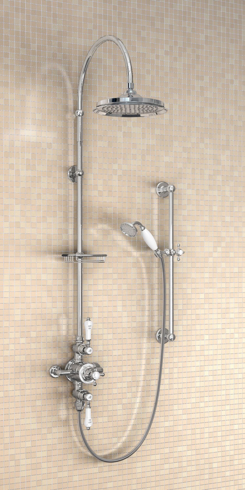 Avon Exposed Thermostatic Shower Valve Standard Vertical Riser Curved Shower Arm For Vertical