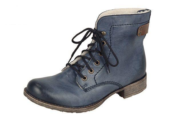 Šnurovacia zateplená obuv modrej farby značka Rieker  9247631e806