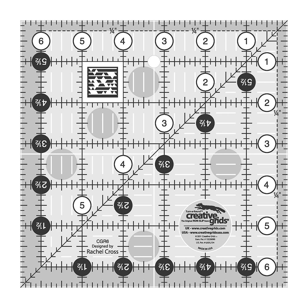 Creative Grids Quilting Ruler 6 1/2in Square By Cross, Rachel  - This 6-1/2in square Quilting Ruler has easy-to-read black & white markings. 1in grid with 1/8in & 1/4in increments. Use numerical white dots & 1/4in grip sides to cut whole inches. Turn-a-Round to use the 1/2in grip side & numerical black dots to add the seam allowance. Gripper holds fabric while
