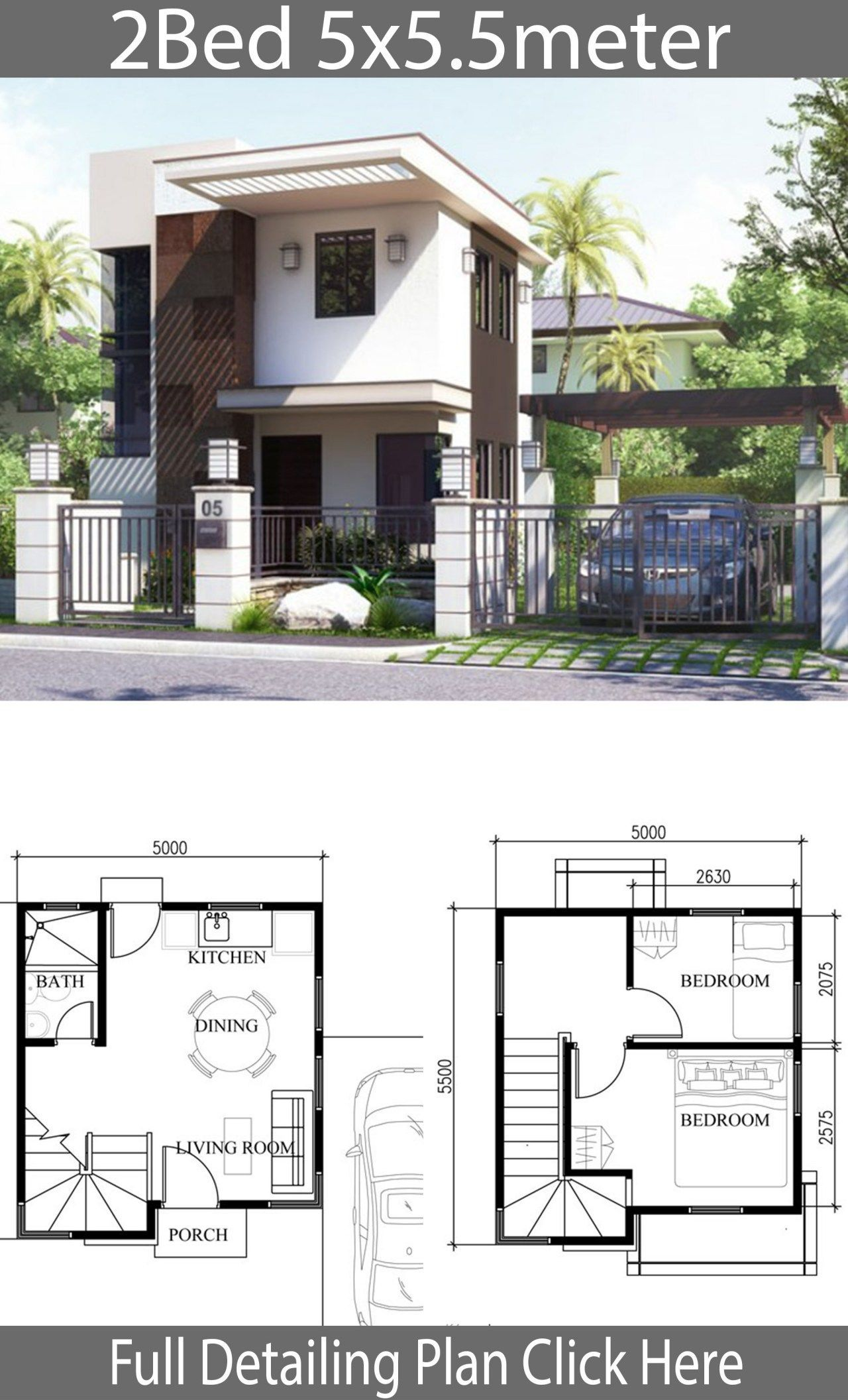 Small Home Design Plan 5x5 5m With 2 Bedrooms Small House Micro House Plans House Front Design Small Modern Home