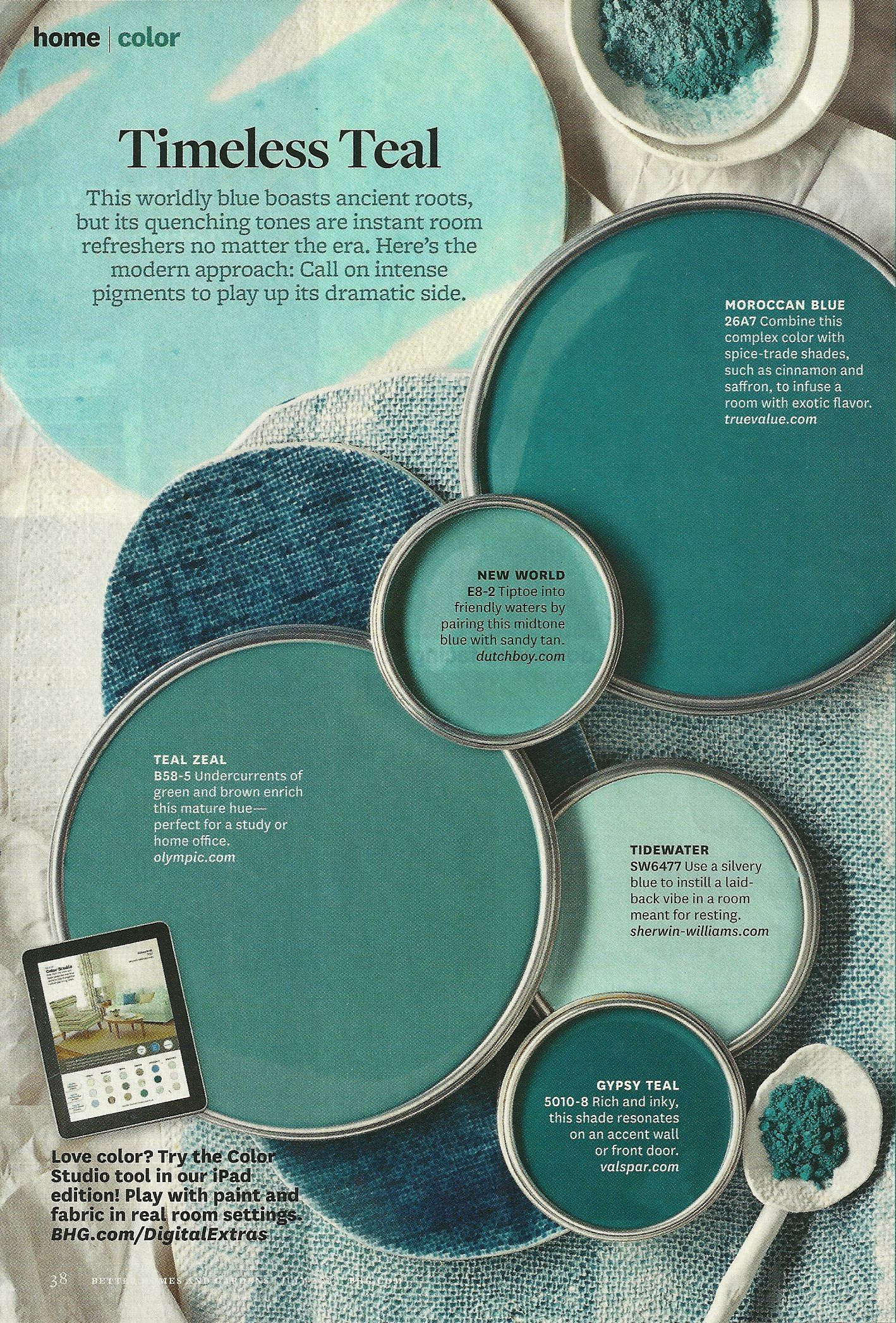 Timeless teal bhg paint colors in 2019 paint colors - Better homes and gardens interior designer ...
