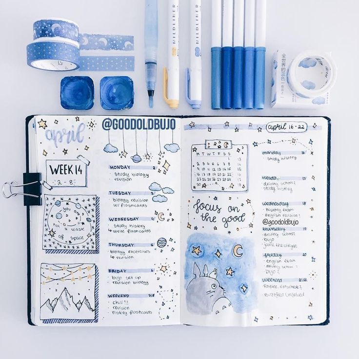 "Bullet Journal Inspo Daily on Instagram: ""We're loving the blues, right now. . This layout by @goodoldbujo is just so stunning! Please! Share your ways!! . . . . . . . . .…"""