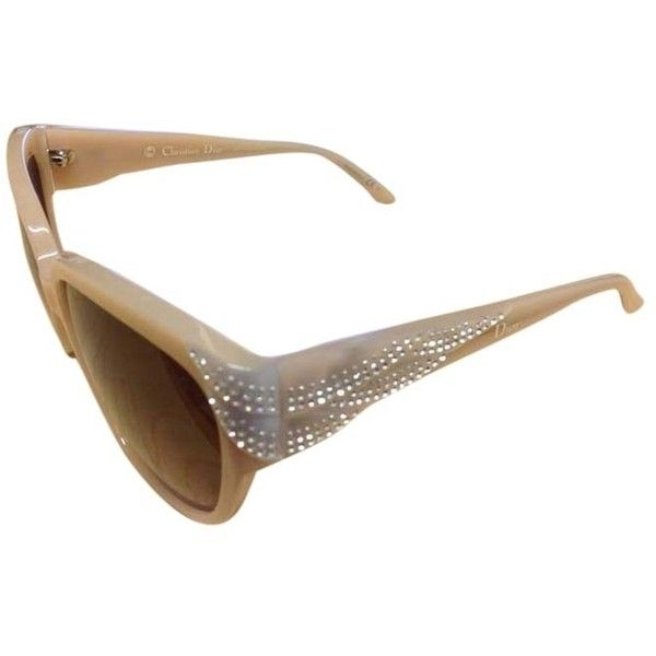Pre-owned Christian Dior Grand Bal Swarovski Crystal Sunglasses... ($328) ❤ liked on Polyvore featuring accessories, eyewear, sunglasses, beige, brown gradient sunglasses, christian dior sunglasses, swarovski crystal glasses, swarovski crystal sunglasses and vintage sunglasses