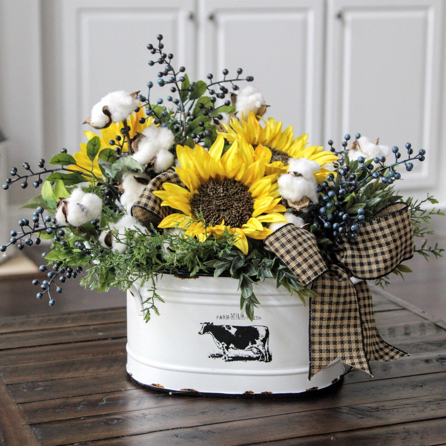 Farmhouse Decor Country Primitive Floral Arrangement
