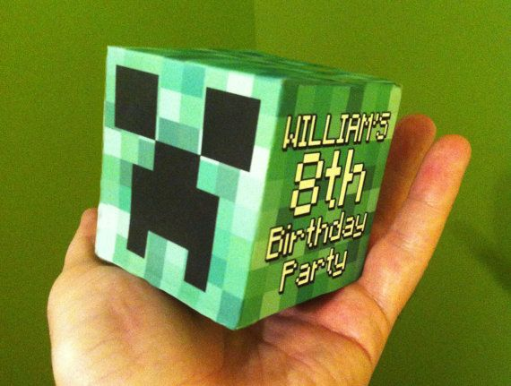 Minecraft Creeper Head Birthday Party Invitation 3D Cube - Ready to Print and Make at home!