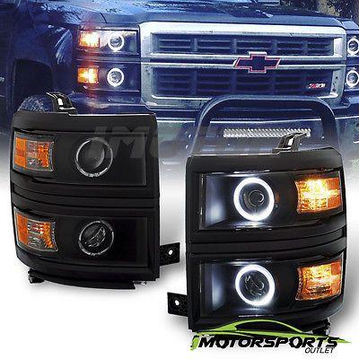 Dual Led Halo 2014 2015 2016 Chevy Silverado 1500 Projector Black Headlights Silverado 1500 Chevy Silverado 1500 2015 Chevy Silverado