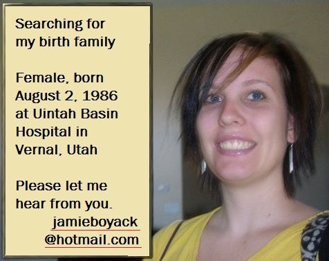 ISO Family: Female, born 8/2/1986 Utah | Adoptee Photo | A Place For Adoption Reunions & Information