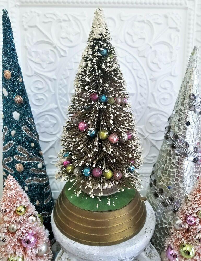 Vintage Musical Rotating Bottle Brush Christmas Tree Mercury Glass Garland 14 Bottle Brush Christmas Trees Colored Mercury Glass Christmas Snow Globes