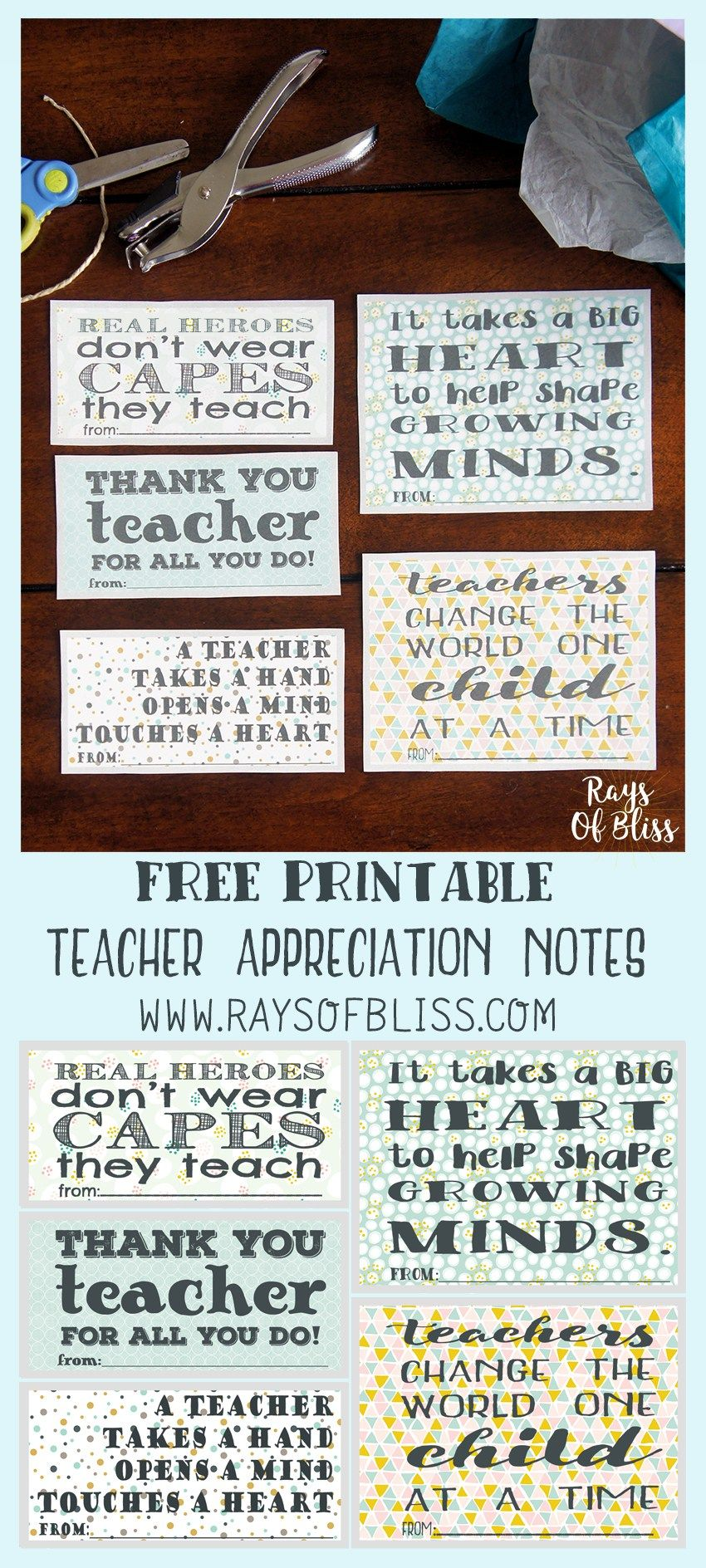 Teacher appreciation notes free printable set of 5 rays of bliss free printable set of 5 teacher appreciation notes perfect to give a little note or use as a gift tag for teacher appreciation week solutioingenieria Images