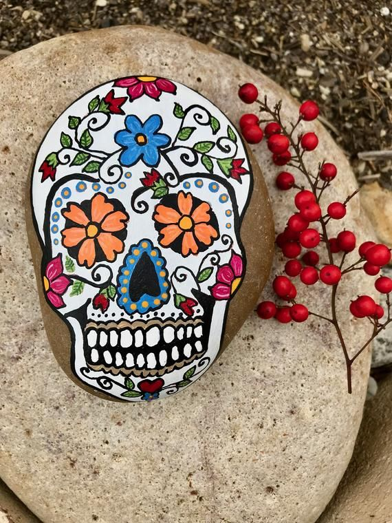 sugar skull painted rock calavera day of the dead  rock