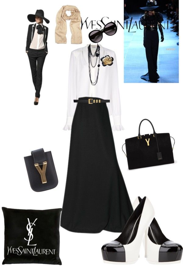 """""""YSL: Classic Black & White with a golden touch"""" by um-omar ❤ liked on Polyvore"""