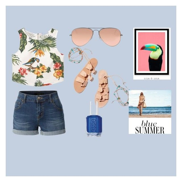 """""""tropical"""" by mayaandrews88 on Polyvore featuring MANGO, LE3NO, Ancient Greek Sandals, Ray-Ban and Essie"""