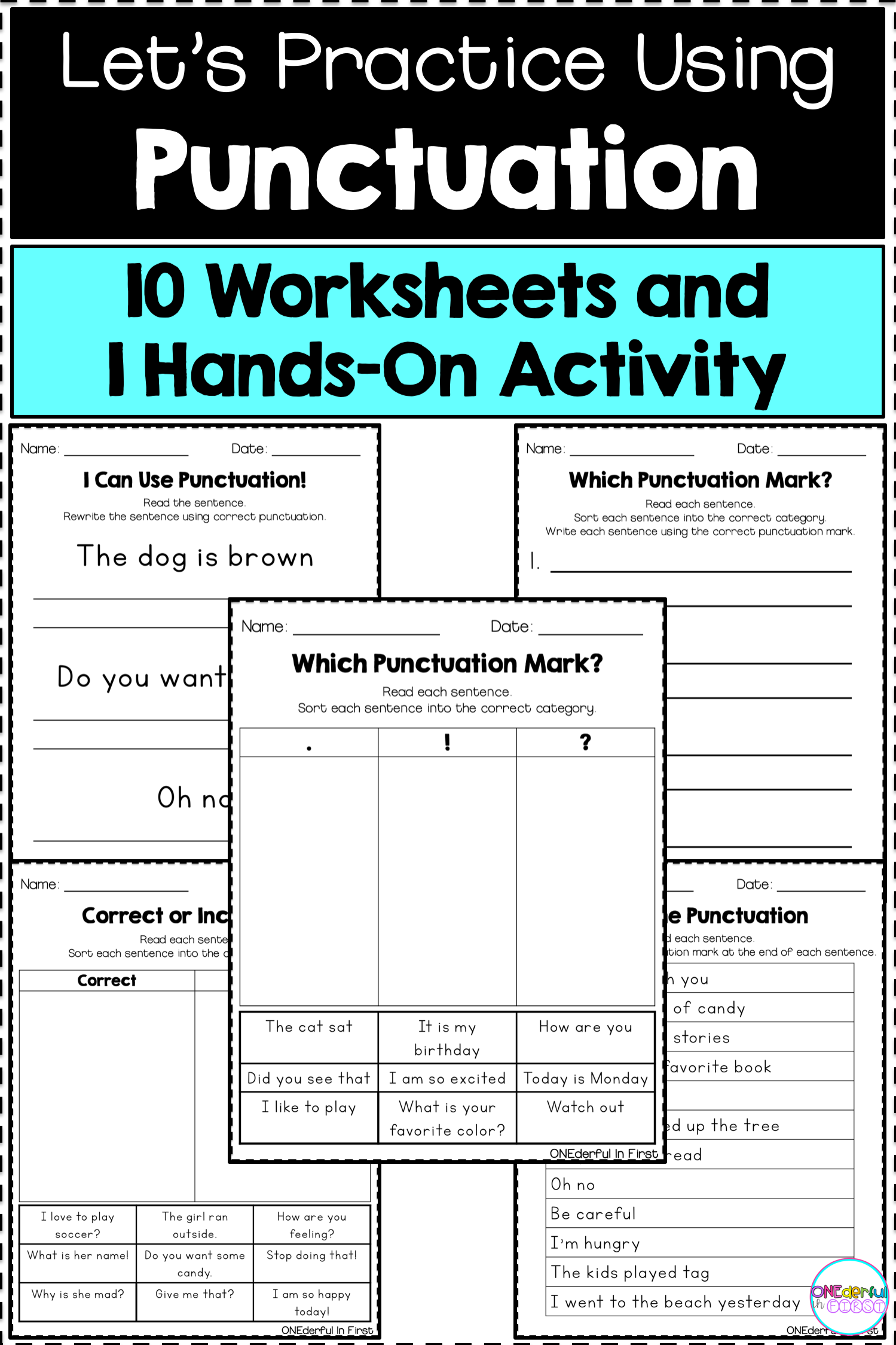 Punctuation - Worksheets and Hands-On Activity   Punctuation worksheets [ 2249 x 1499 Pixel ]