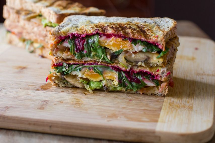 Grilled Egg, Avocado and Cheese Sandwich with Beetroot Relish