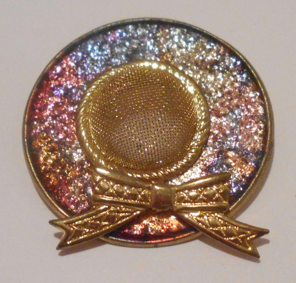 Vtg+Pin+Easter+Hat+Wide+Brim+Multi+Color+Foil+Enamel+Gold+Tone+Mesh+99+Cent+Auc+