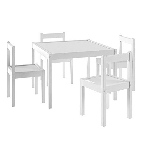 Kids Table and Chairs Set White Wood Childrenu0027s Set with 1 Square Table and 4 Chairs  Great for Playing  Learning  Eating  sc 1 st  Pinterest & Kids Table and Chairs Set White Wood Childrenu0027s Set with ... https ...