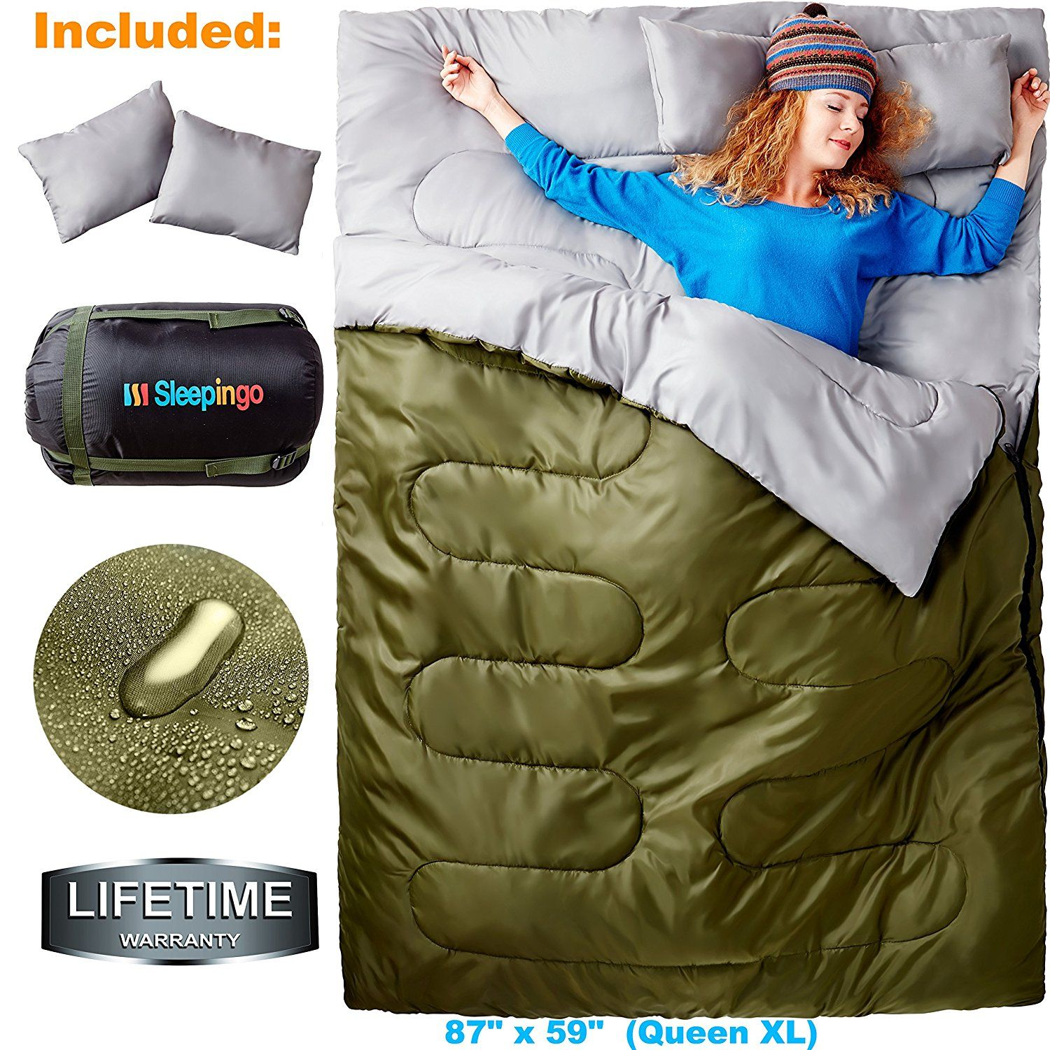 Sleepingo Double Sleeping Bag For Backng Camping Or Hiking Queen Size Xl