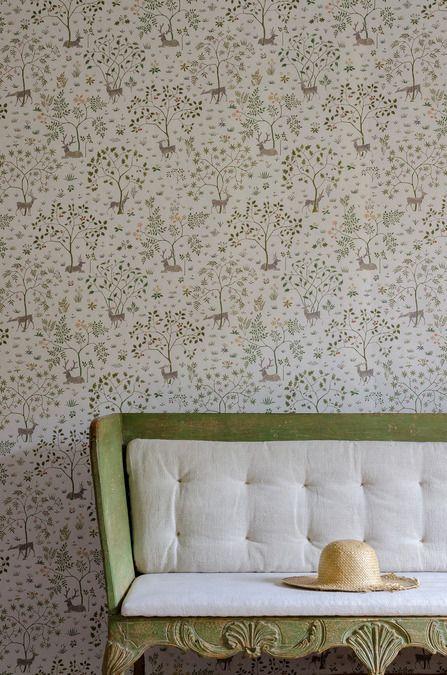 Voysey Park Wide Width Wallpapers Green rooms, Wallpaper