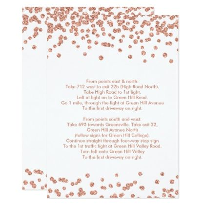 Driving Directions Rose Gold Glitter Confetti Card