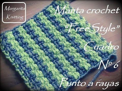 Manta a crochet FreeStyle cuadro 6: punto rayas (diestro) - YouTube