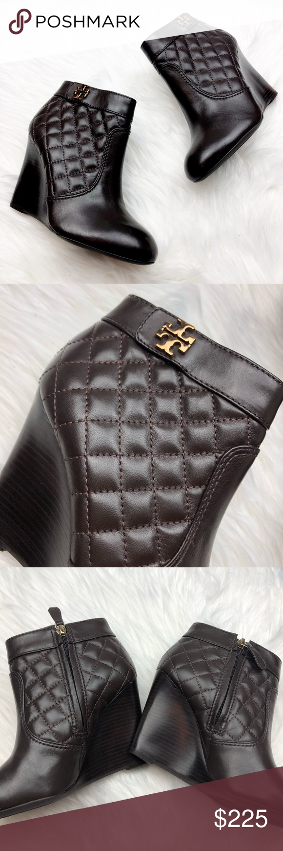 16363a335579 New Tory Burch Leila Brown Quilted Wedge Booties Brand new and never worn.  Size 7. Quilted leather. Tory logo in gold. Interior zip. Chocolate brown.