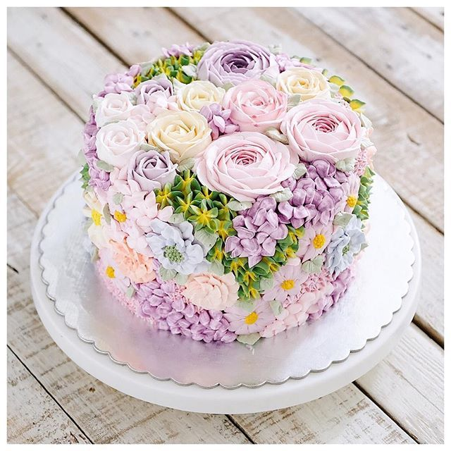 Garden Birthday Cake With Flowers Easter Flower