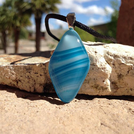Sale blue necklace with stripes diamond shaped fused glass handmade sale blue necklace with stripes diamond shaped fused glass handmade fusedglass jewelry aloadofball Gallery