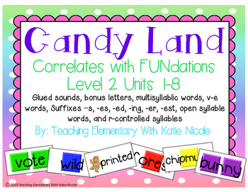 Candy Land glued sounds, bonus letters, multisyllabic