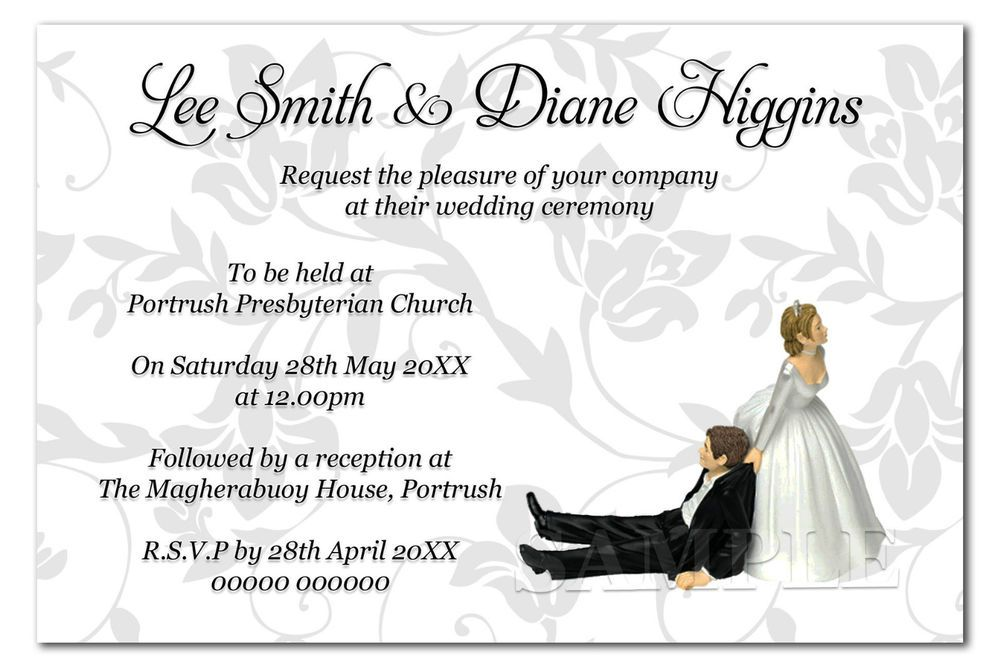 Humor Wedding Invitations: Personalised Day Or Evening Funny Wedding Invitations