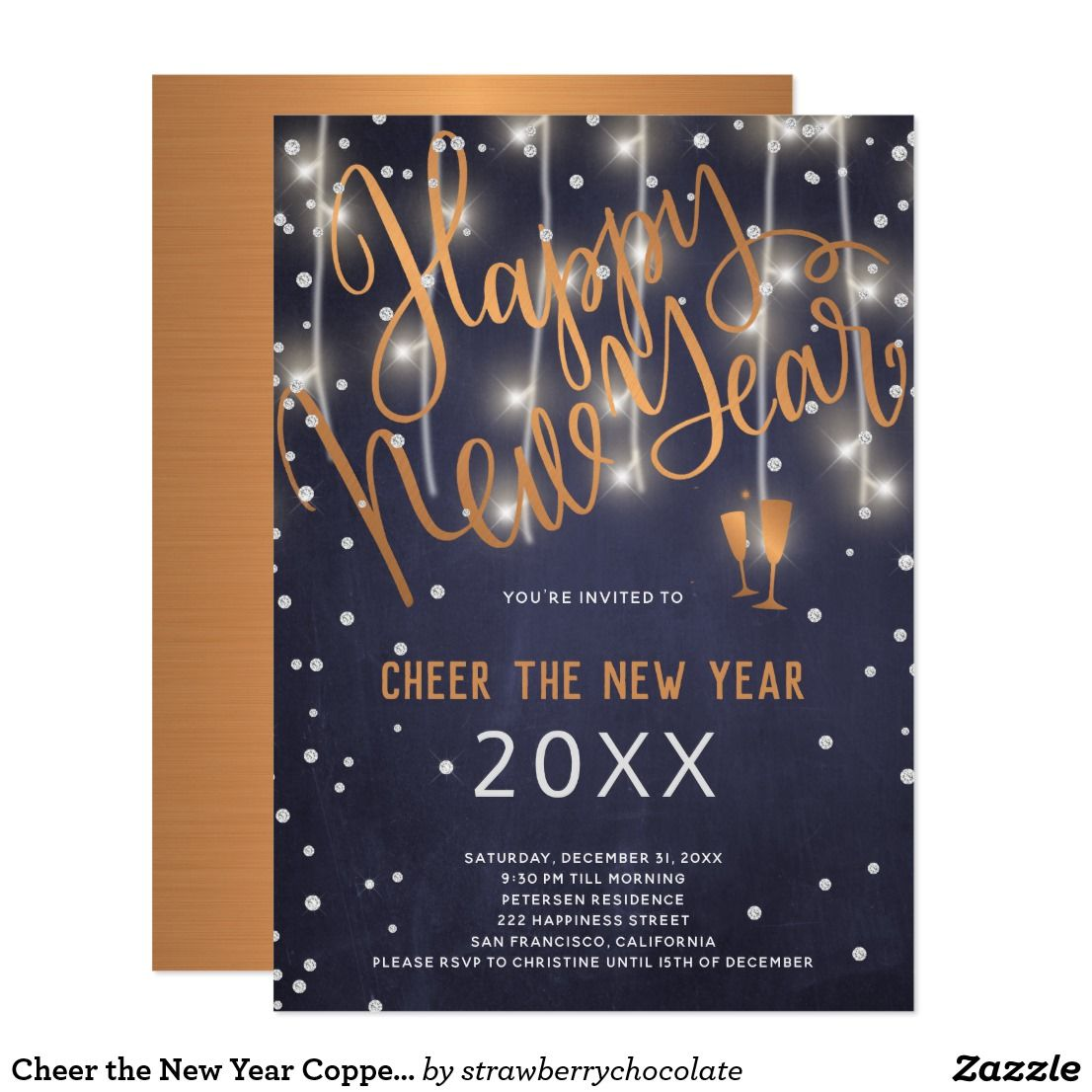 cheer the new year copper and lights navy party invitation