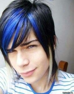 Black Dark Blue Hair With Images Emo Hairstyles For Guys