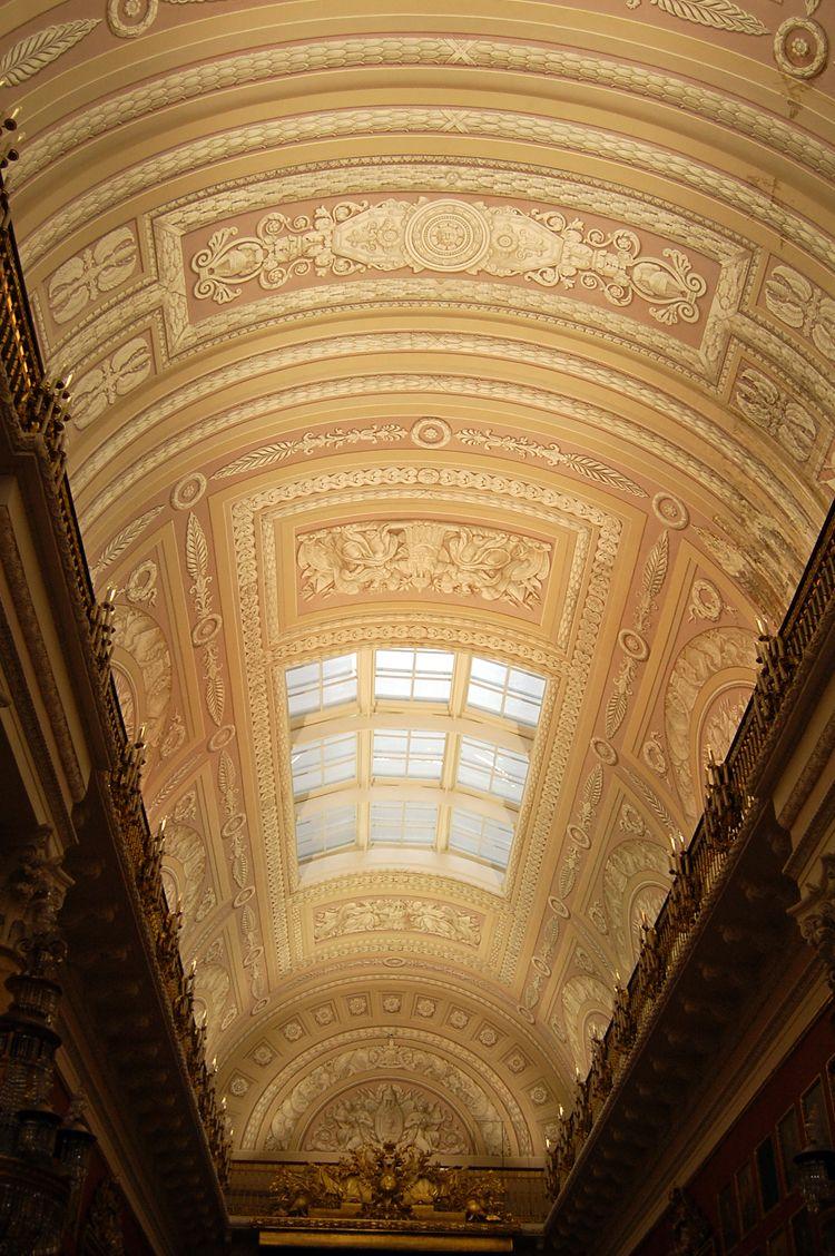 Ceiling of a gallery hall in Hermitage museum, Saint Petersburg.