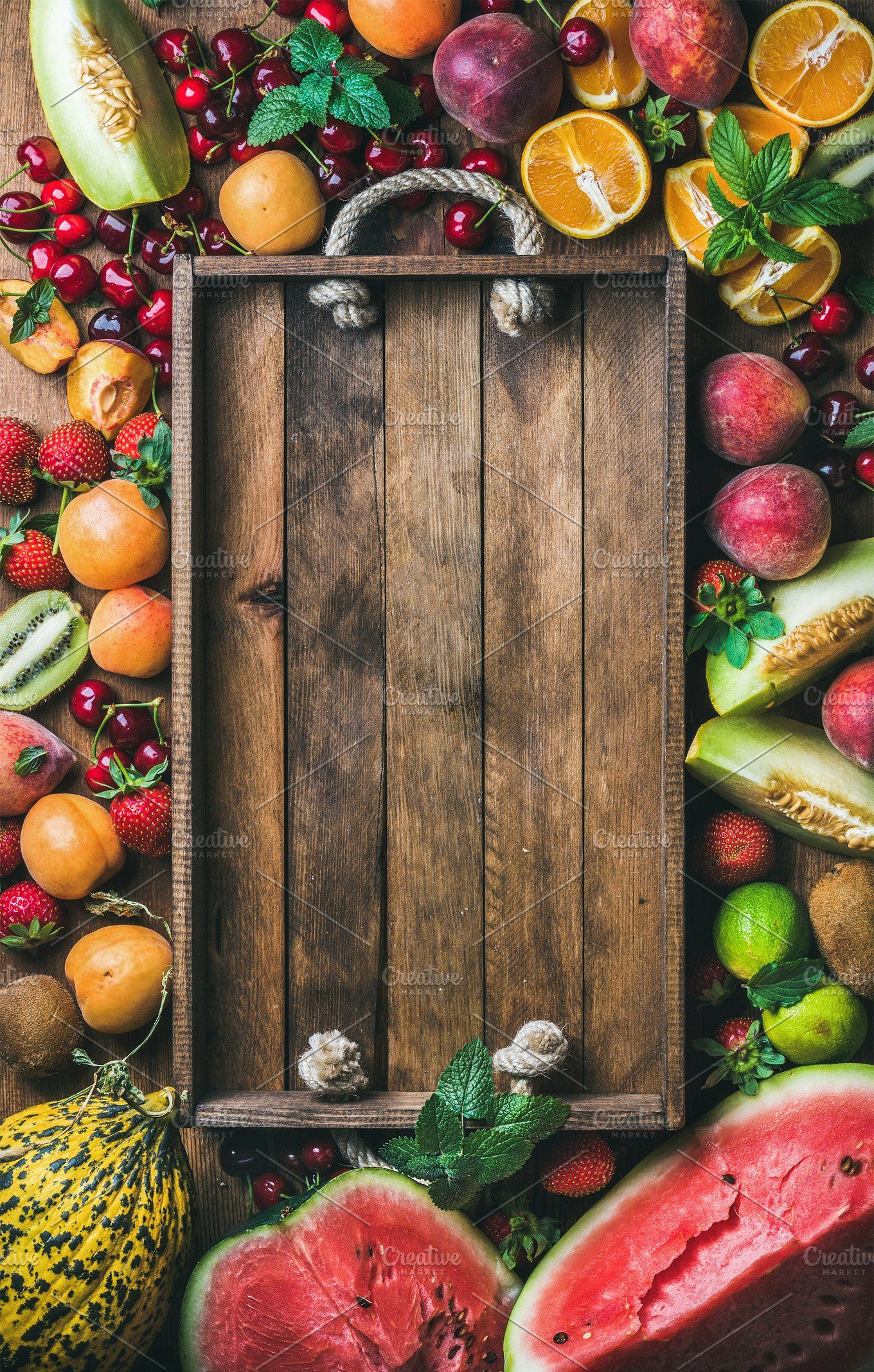 Summer fresh fruit variety Rustic food photography