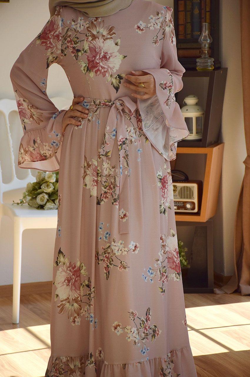 Volanli Soft Cicekli Pembe Elbise Elbise Elbise Modelleri Kiyafet